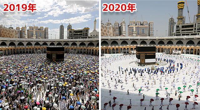 メッカへの巡礼がコロナの影響で激変。巡礼者数を制限した結果のビフォア・アフター(サウジアラビア)