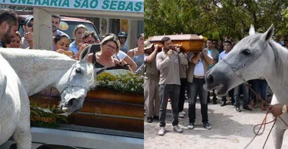 馬も人類の親友である。飼い主の葬儀で棺に頭を押し当て涙を流す馬(ブラジル)