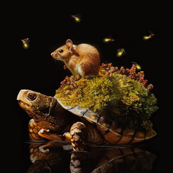 亀の甲羅で新たなる生態系を作り出すファンタジーシュールなアクリル絵画