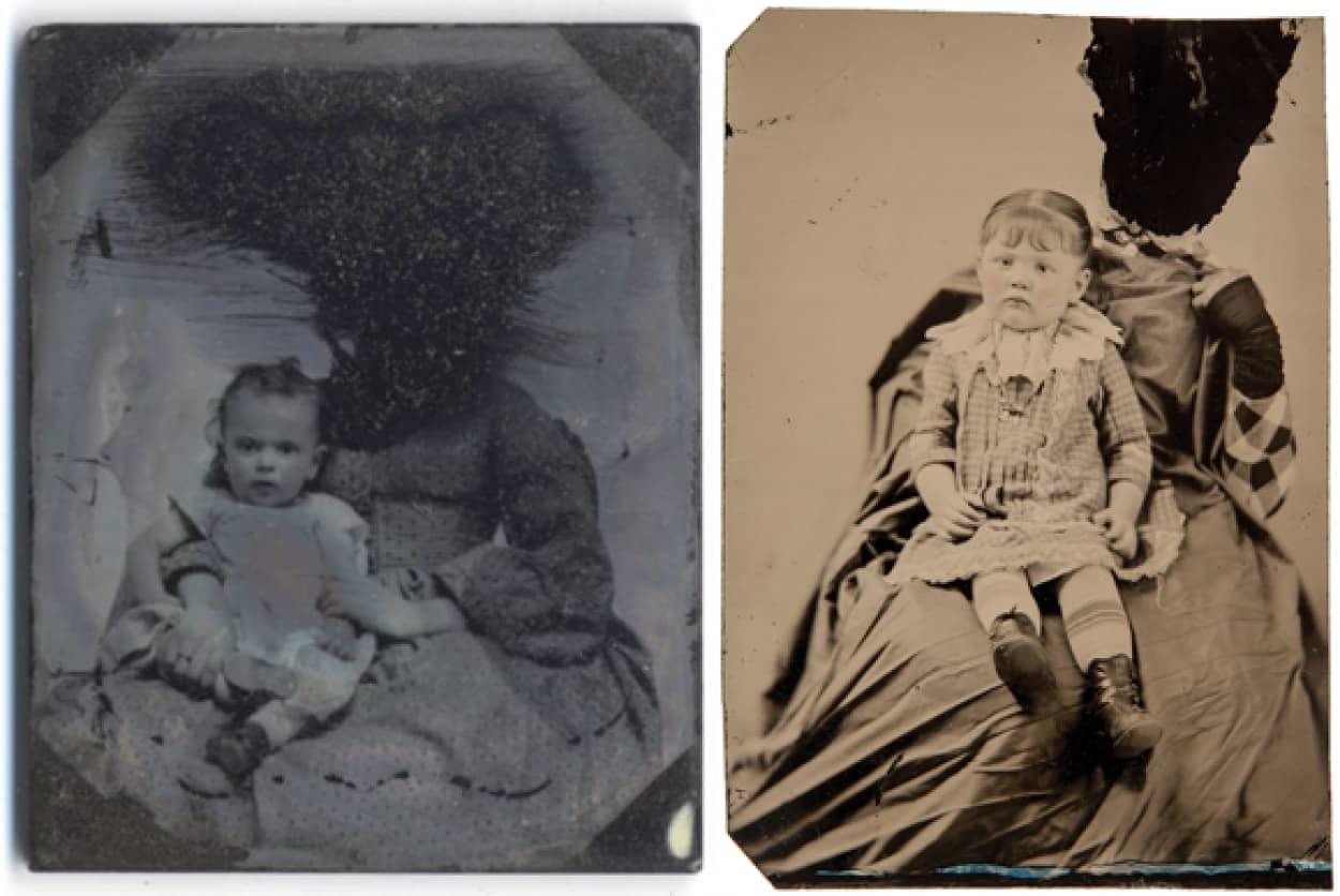 子供を抱く女性の顔が黒く塗りつぶされた不気味なヴィクトリア時代の古写真