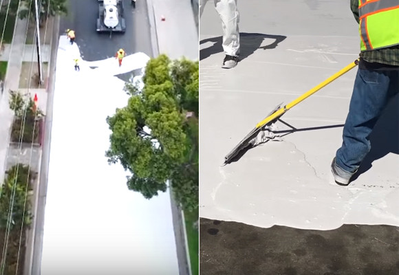 こう暑くっちゃよ~、よし、道路まるごと白く塗っちゃえ!で、実際に効果があった件(アメリカ・ロサンゼルス)