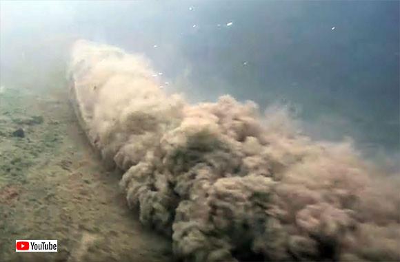 川底でトルネード旋風を巻き起こす!全長7メートル、巨大アナコンダ様のお通りでぃ!(ブラジル)※ヘビ出演中