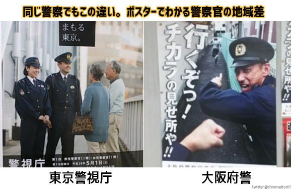 警察のポスターも地域によってこんなに違う。例えば警視庁と大阪府警・・・