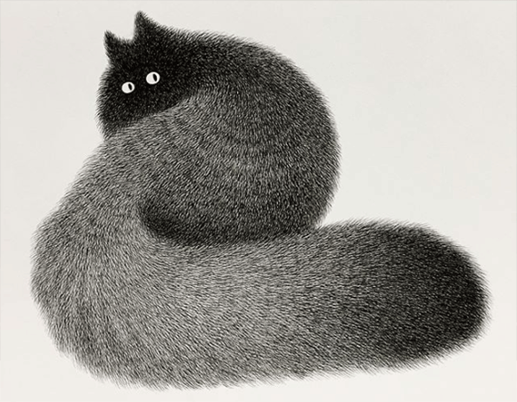 黒いペンだけで猫のもふもふな毛並みを表現。思わず触ってみたくなる繊細なるペンアート