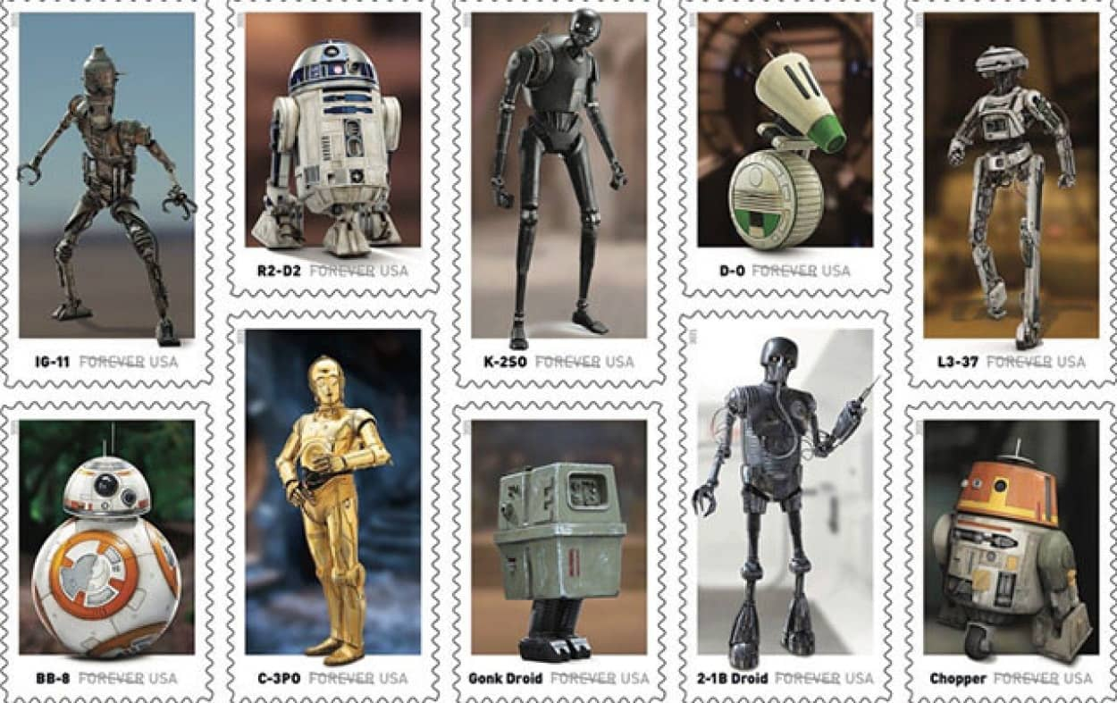 スターウォーズシリーズの歴代ドロイドの切手が販売予定