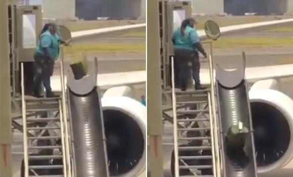 大きく投げるよ。飛行機から荷物をシューターに放り投げる空港職員の姿がとらえられ物議をかもす(アメリカ)