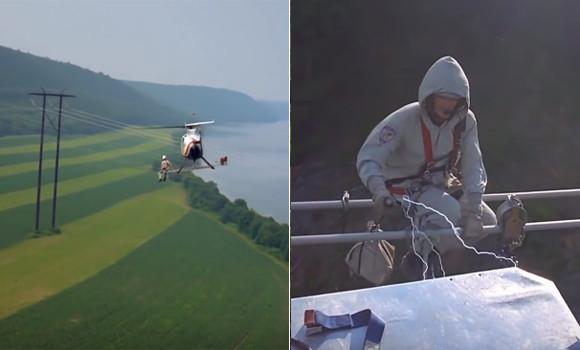 ヘリコプターで高圧電線に接近。その検査方法