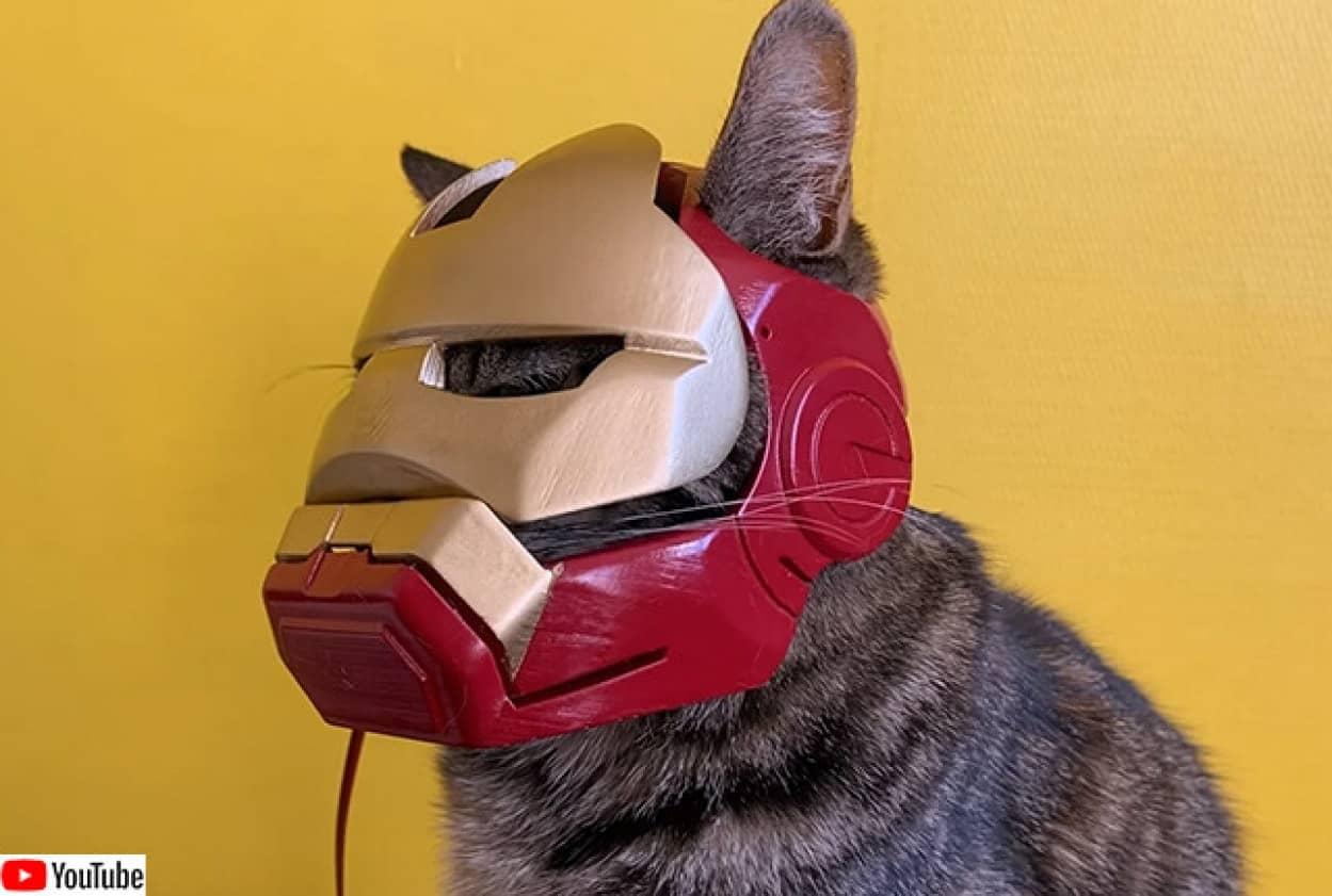アイアンマンならぬアイアンキャット用ヘルメットを3Dプリンターで作成