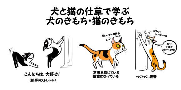 なるほどこれはわかりやすい。犬と猫の仕草から学ぶ、図解:犬のきもち・猫のきもち」