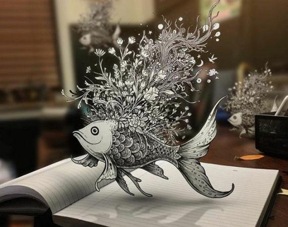 錯視しまくり!飛び出し方がすごい!イラストの概念を覆す3D立体イラスト絵
