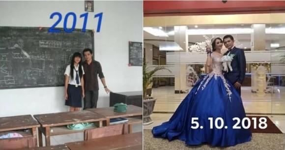 13歳だった女子中学生が27歳男性教師と恋に落ち、20歳になってめでたく結婚(インドネシア)