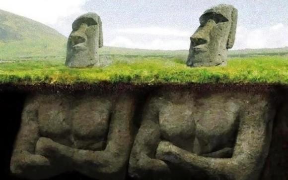 モアイ像は頭だけではない、地下に埋められたボディの秘密