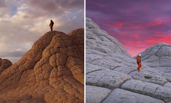 アメリカの異世界的光景が広がる地域を宇宙服を着て探訪するショートフィルム「Space to Roam」