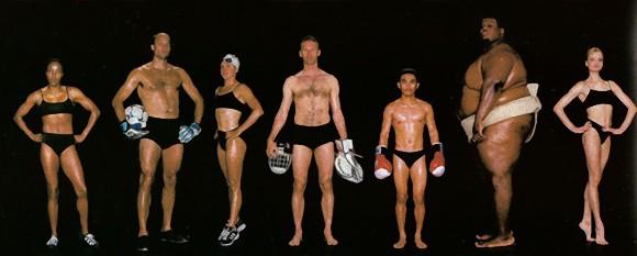 最強のアスリートたちの体型を種目別に比較した写真