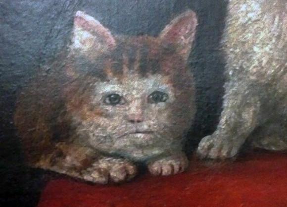 雑コラかよ!中世に描かれた悲惨な猫のいる風景