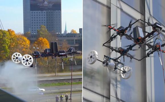 ドローンの有効活用が広がりを見せる。高層ビルの窓拭き作業をするドローンが登場!