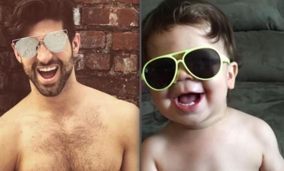 マッチョな弟がインスタでモデルポーズを決めまくっているので、幼い息子にそれをマネさせて比較画像を投稿しまくる姉のインスタ。