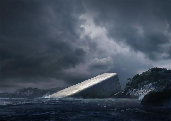 どことなくディストピア感が漂う、半分海に沈んだ水中レストラン「Under」(ノルウェー)