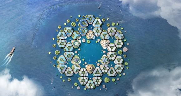 国連が発表した大胆な水上浮遊都市プロジェクト。巨大ハリケーンや気候変動にも耐えうる構造
