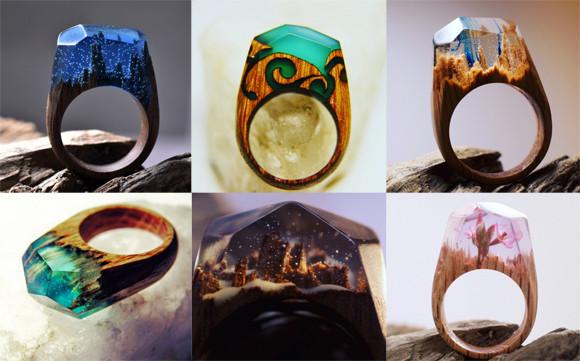 魔力が宿っていそう。どれ一つとして同じものはない秘密の森の木の指輪「Secret Wood」