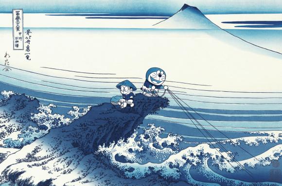 葛飾北斎の名作「甲州石班澤」がモチーフ。のび太とドラえもんが北斎ブルーの美しい浮世絵木版画に!