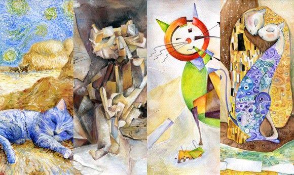 画風が変われば猫も変わる。ゴッホ風・ピカソ風・日本画風など、猫を有名画家の画風で表現したイラストアート