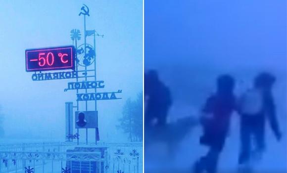 一方ロシアではマイナス50度を記録していた。北極圏の村で猛吹雪の中通学する子どもたち