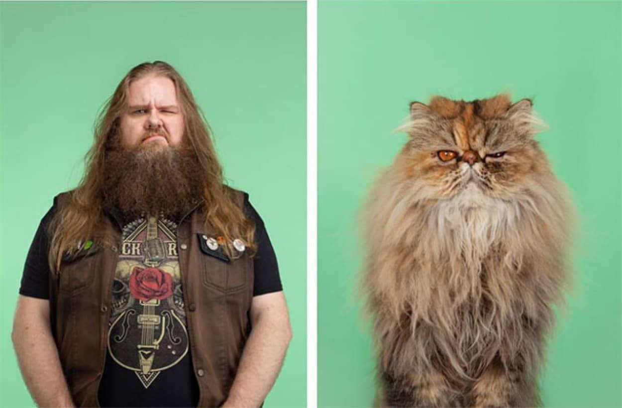 猫と飼い主の比較写真