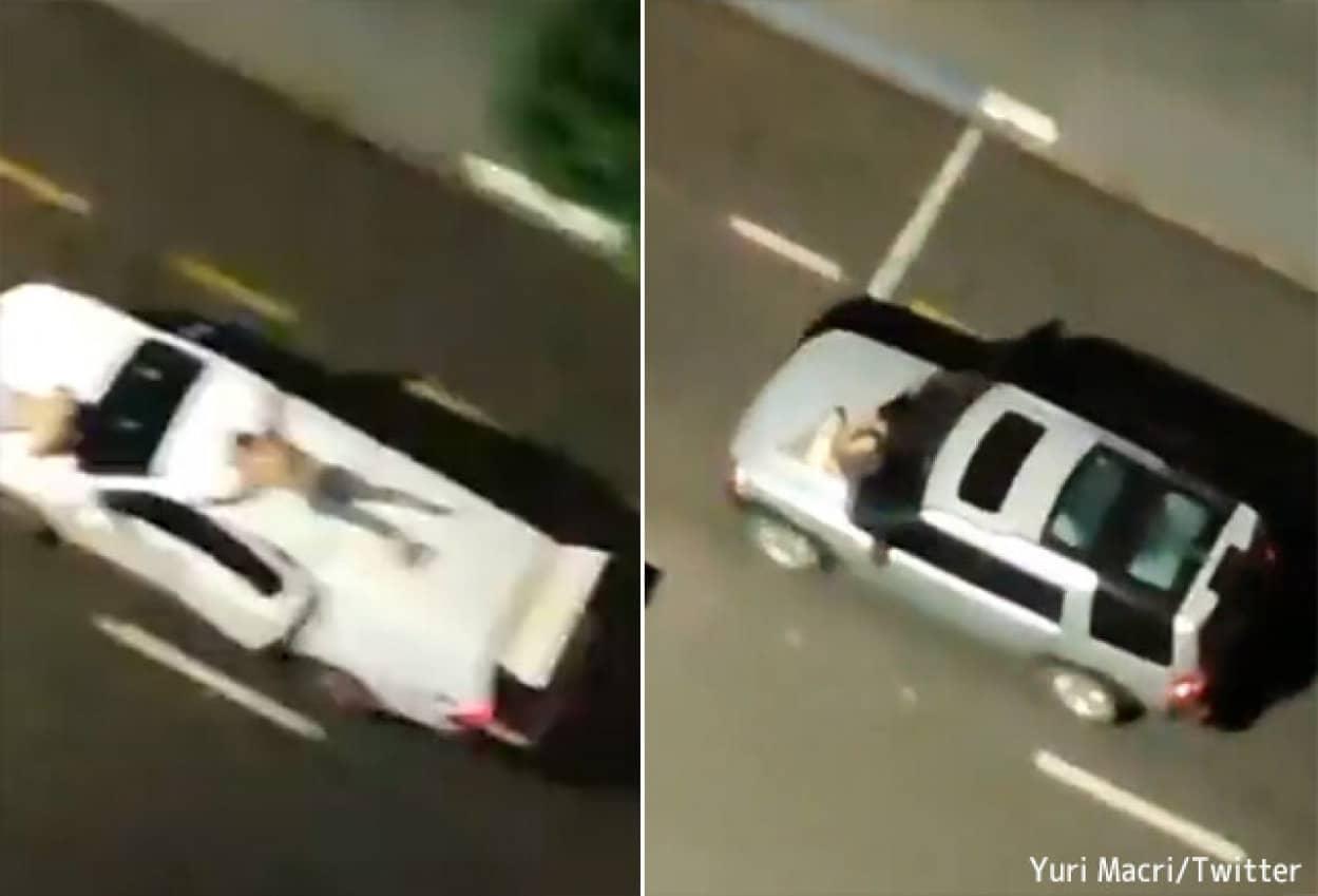 人質を車の屋根やボンネットに縛り付け、人間の盾として使用する、恐ろしいブラジルの銀行強盗グループ