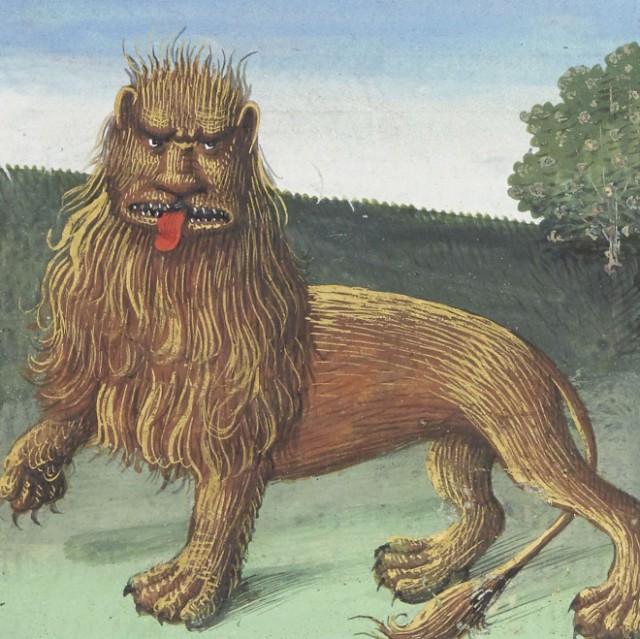 中世の芸術家が伝聞だけで描いたライオン