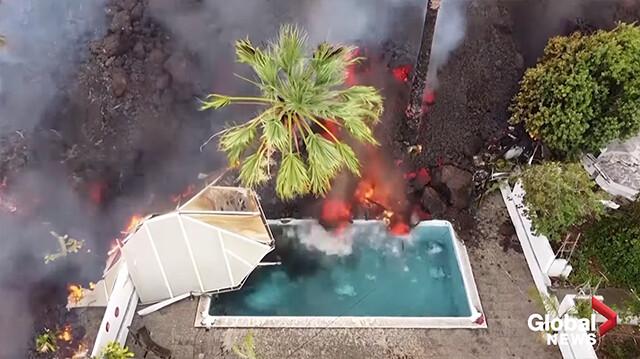 火山噴火による溶岩が民家のプールに流れ込んでくる驚愕のドローン映像