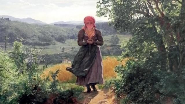 タイムトラベラーなのか?19世紀の絵画にスマホを手にした女性が描かれているミステリー