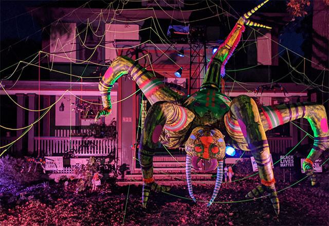 ハロウィンで出現した巨大蜘蛛