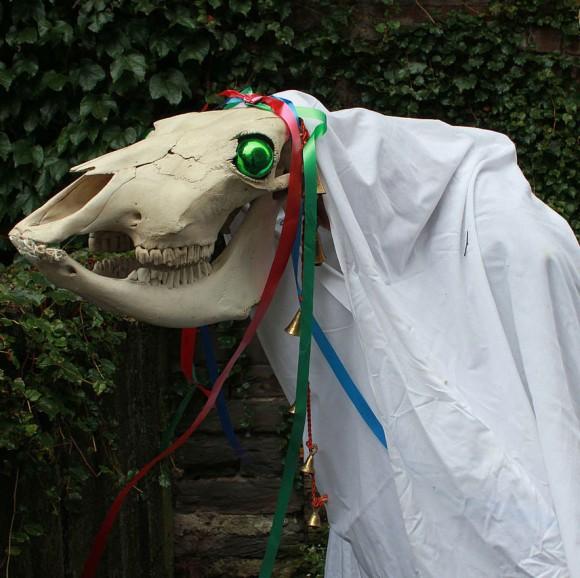 馬の骸骨を持った白装束が家々を訪ねる。イギリス・ウェールズの伝統行事「マリ・ルイード」