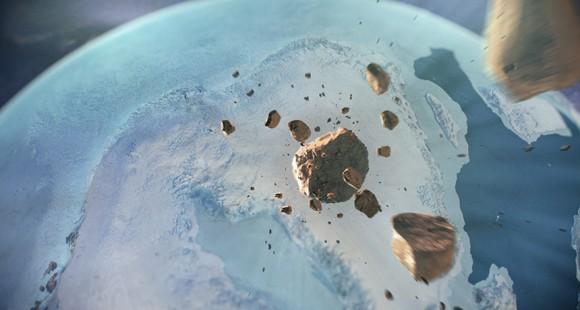 グリーンランドの氷河の下で巨大なクレーターが発見される
