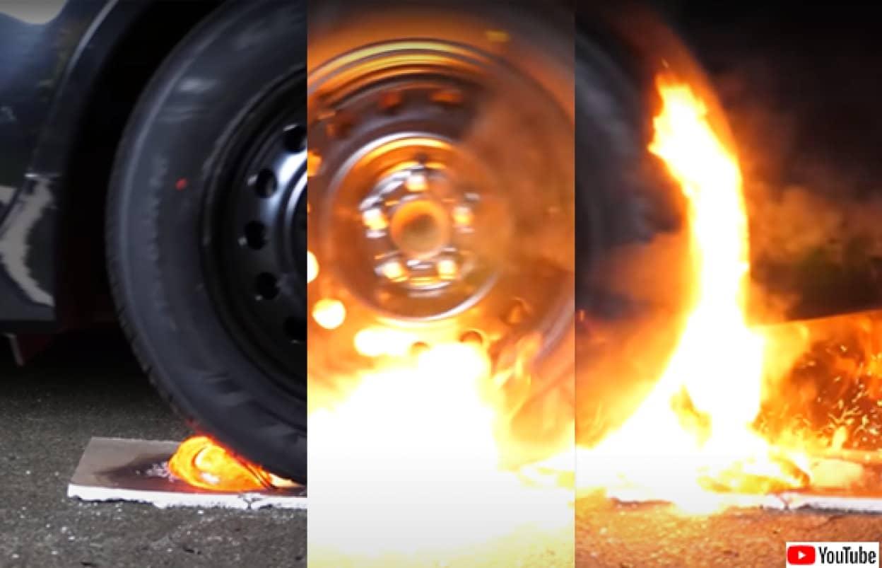 車のタイヤで溶岩をひく耐久実験