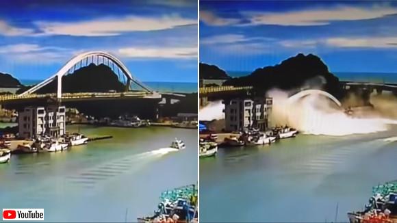 突然起きた橋の崩壊。アーチもろとも落下(台湾)