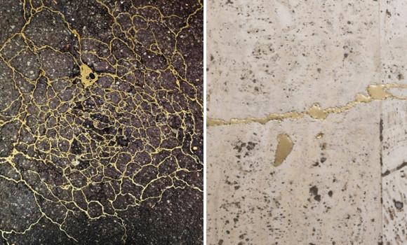 日本伝統の補修技術「金継ぎ」に触発されたアメリカ人アーティスト、道路や床を金継ぎに