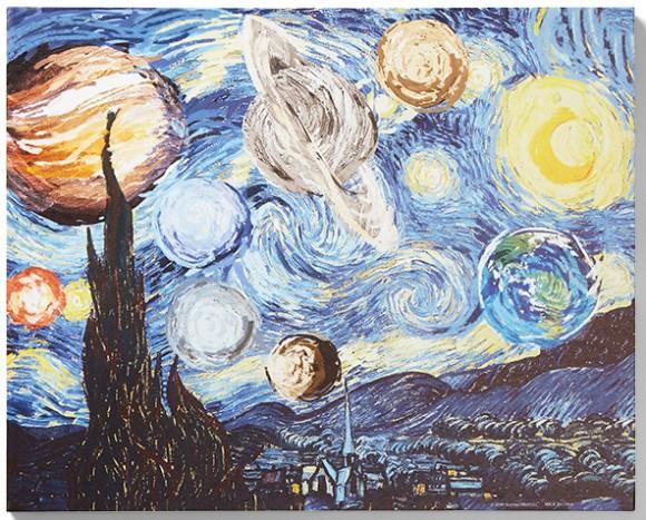 これは部屋に飾りたい!ゴッホの「星月夜」に太陽系惑星が入り込んだリミックスアート