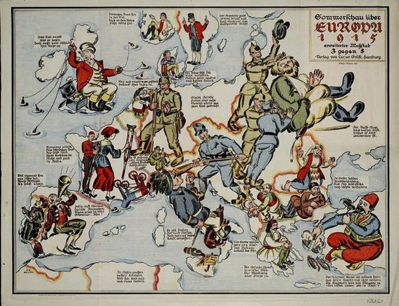 Ceron - 第一次世界大戦中のヨーロッパの勢力争いが良くわかる風刺地図 : カラパイア