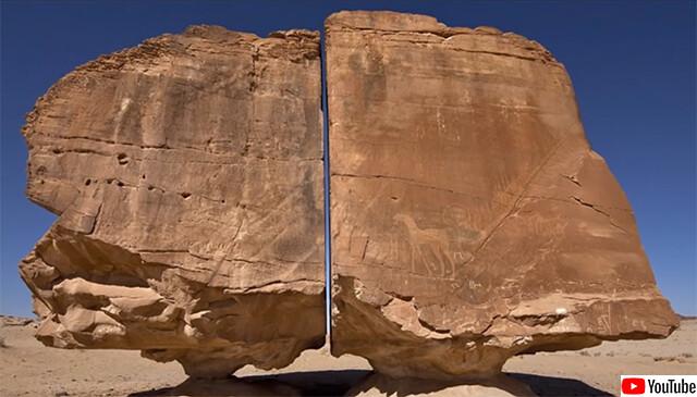 オーパーツなのか?当時の技術では不可能な精度で真っ二つに分断された4000年前のサウジアラビアの巨石