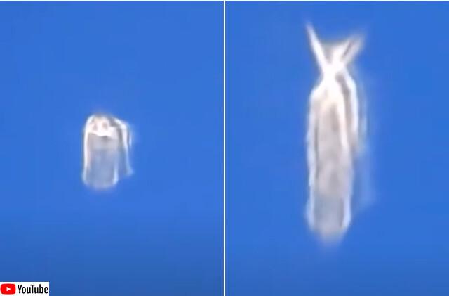飛行機の窓からとらえた、変形する謎の白い物体