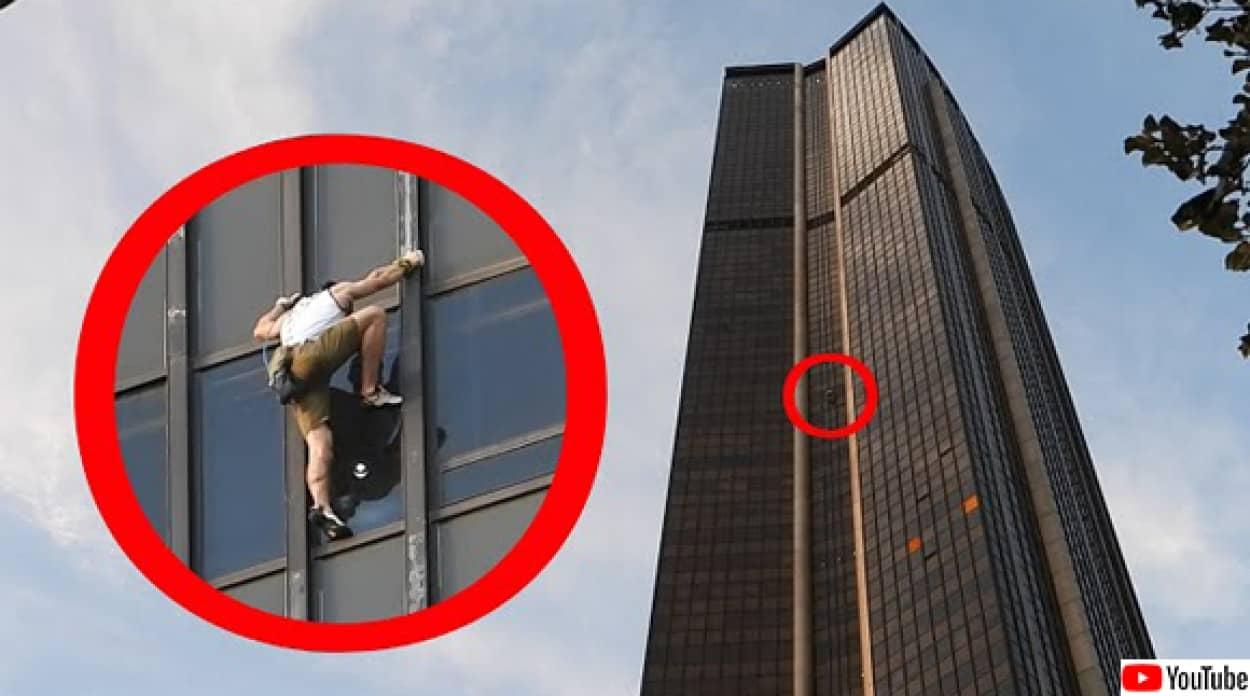命知らずの男性、高層ビルを命綱なしで登る