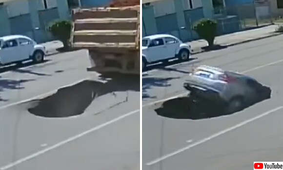トラックが通過後、突如道路に出現した陥没穴。その穴に飲み込まれた母娘の車(ブラジル)