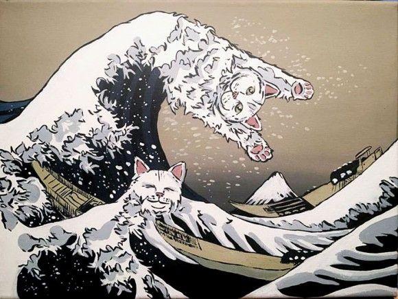 猫が好きすぎてあらゆるものに猫を混ぜ込んでしまった、奇妙でシュールな猫絵画