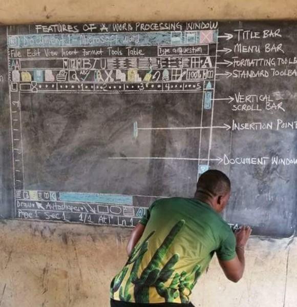 パソコンなしでMicrosoft Wordの使い方を教えるガーナの教師。その驚くべき方法とは?