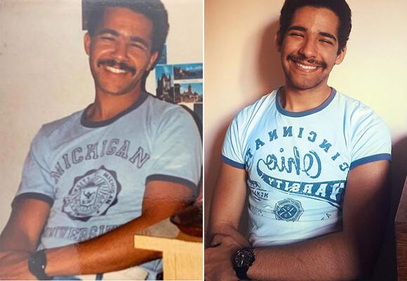 家族のアルバム写真と同じ構図、同じポーズで再現撮影。愛と笑いの比較写真