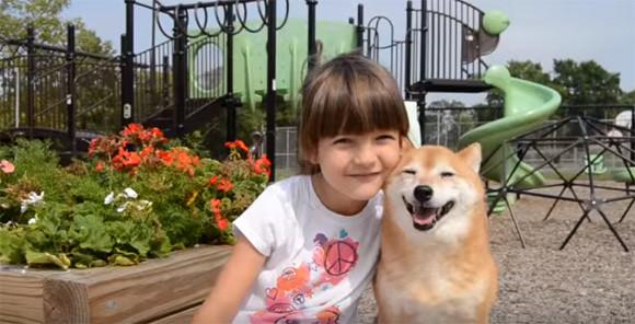 柴犬の笑顔がまぶしすぎた!7歳のアメリカ人少女と柴犬が公園で仲良く遊ぶよ