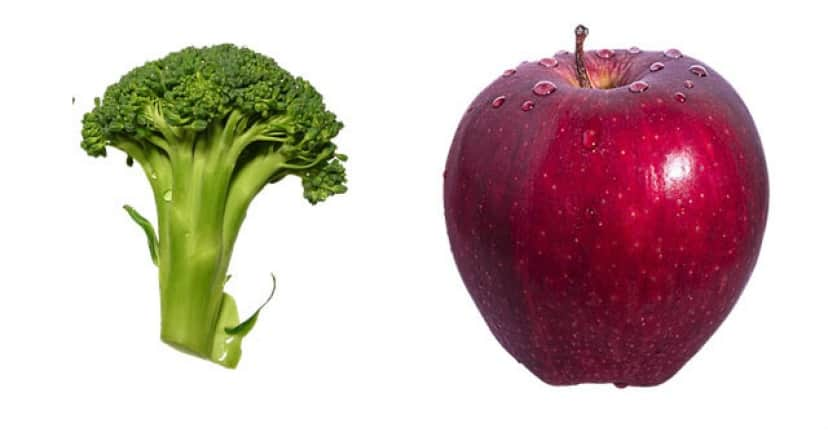 ブロッコリーとりんご