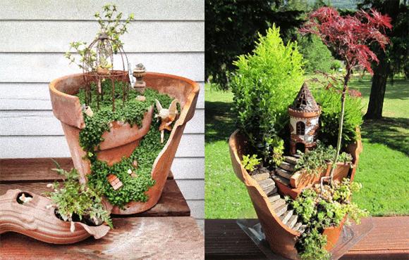 これは斬新!壊れた植木鉢をつなぎ合わせて作る、ラピュタ「天空の城」みたいなプランター